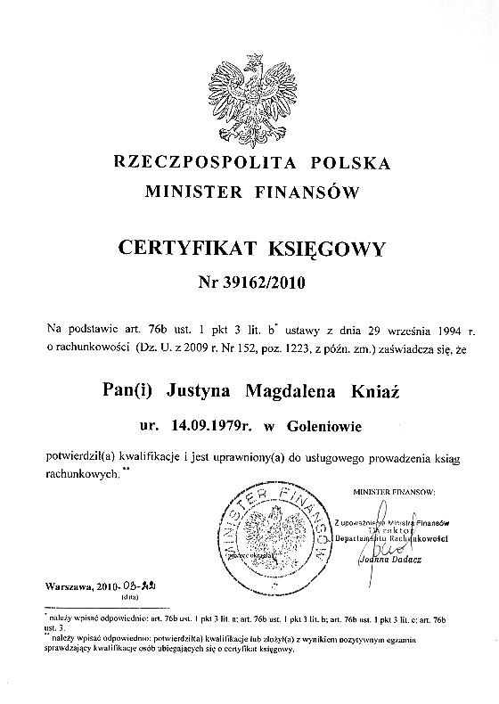 certyfikat ksiegowosc szczecinek
